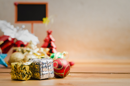 A preset box for decorate a Christmas day and happy new year with copy space and blur background