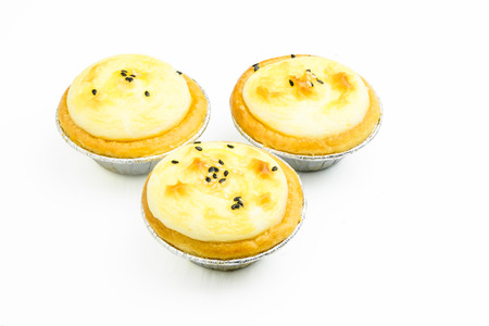 isolated three of tarts on white background with clipping path
