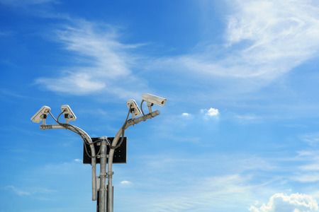 CCTV cameras install for watching the movement on any whare, and blue sky on day time