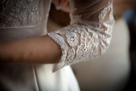 needle laces: white lace sleeve girl handmade wedding dress