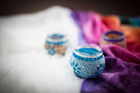 bright multi-colored candleholders handmade