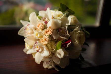 beautiful wedding bouquet of white flowers