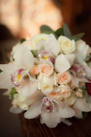 divan: beautiful wedding bouquet of white flowers