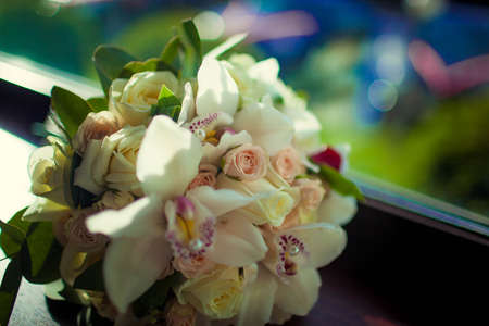 beautiful wedding bouquet of white flowers