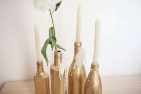 Handmade candlestick from the bottle.