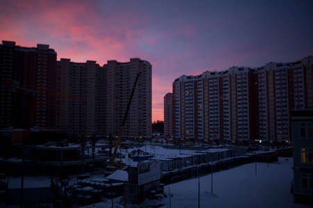 Construction site at dawn in city Moscow