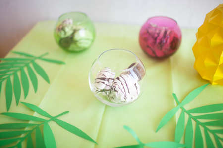 Chocolate marshmallow on the table. Beautiful table for a childrens party.