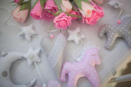 toy sky, moon and stars, sewing Close up Stockfoto