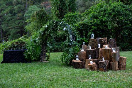Trellis Alter Wedding Candles Tree Stumps
