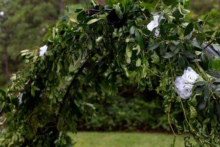 Trellis Flowers Wedding Alter Outside