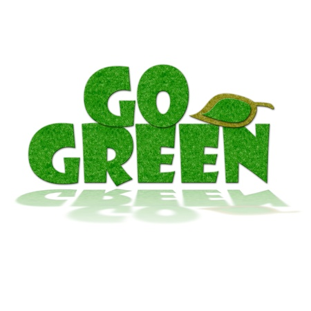 greenhouse effect: Felt Go Green Sign with reflection. Handmade style illustration