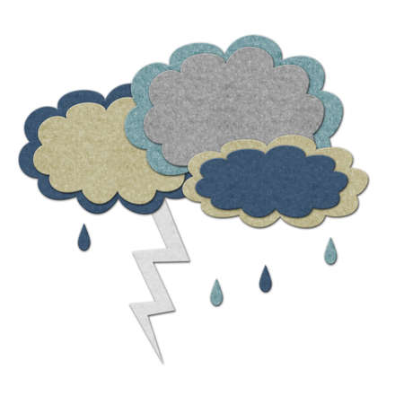 bad weather: Felt storm clouds with lightning. Handmade style illustration Stock Photo