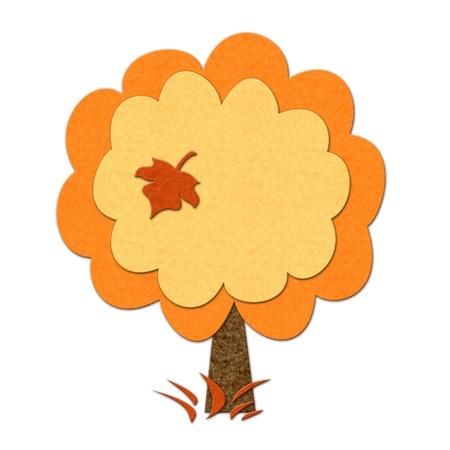 felt: Felt autumn tree. Handmade style illustration