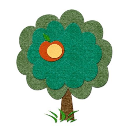 felt: Felt summer apple tree. Handmade style illustration Stock Photo