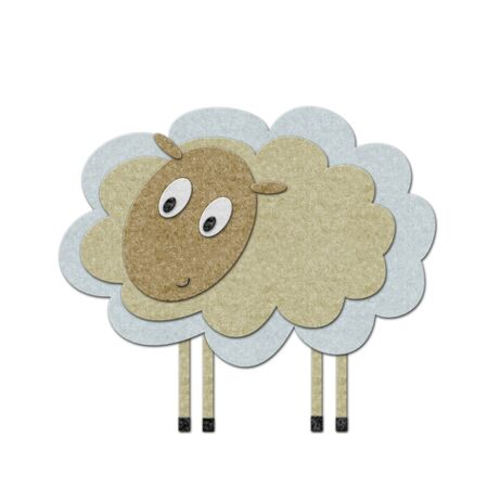 Little felt lamb. Handmade style illustration. illustration