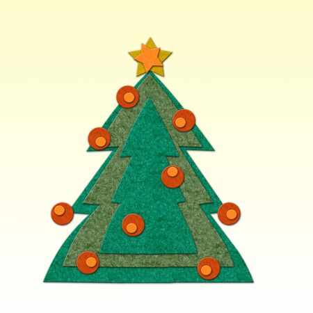 Felt Christmas tree with decoration. Handmade style illustration