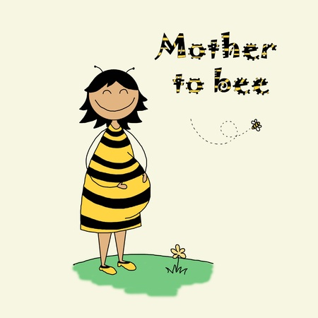bees: Funny hand drawn illustration of a pregnant young woman Stock Photo
