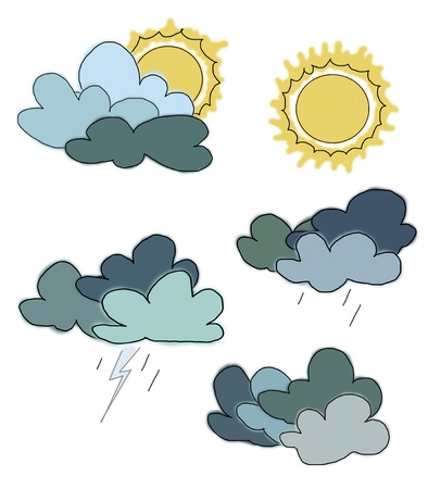 Hand drawn illustration of five different weather conditions illustration