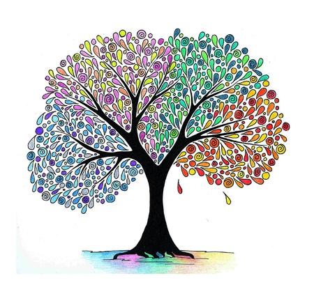 Zusammenfassung Handzeichnung eines Vier Jahreszeiten Baum Standard-Bild - 10180894