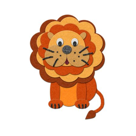lion tail: Felt lion illustration. Isolated over white, cutout style