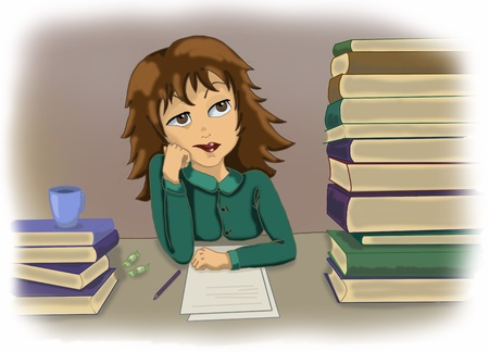 Illustration of a girl got bored while sdudying or working in the office Stock Illustration - 10284141
