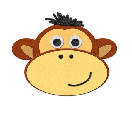 felt: Illustration of felt monkey. Cutout style, isoalted over white