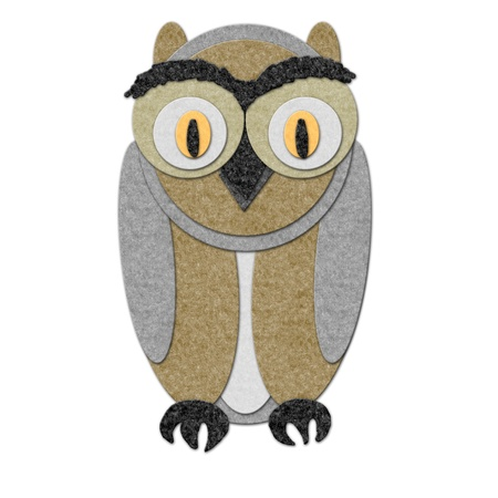 Illustration of a felt owl. Cutout style, isoalted over white illustration