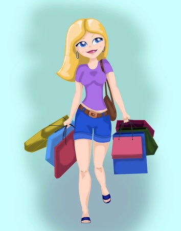 Illustration of a beautiful blond girl shopping with lots of bags