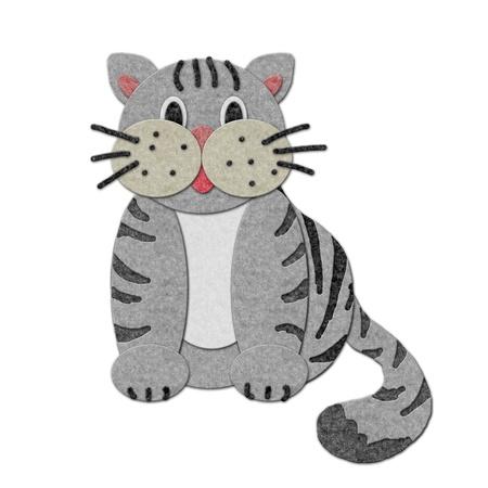 felt: felt cat Illustration. Cutout style isolated over white Stock Photo