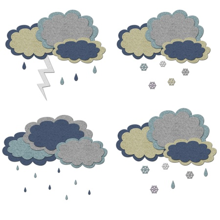 bad weather:  Bad weather conditions. Set of felt illustrations, isolated over white