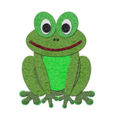 felt: felt frog Illustration. Cutout style isolated over white