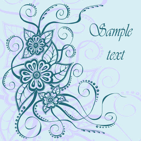 Beautiful frame with hand drawn floral elements and text box   illustration Vector