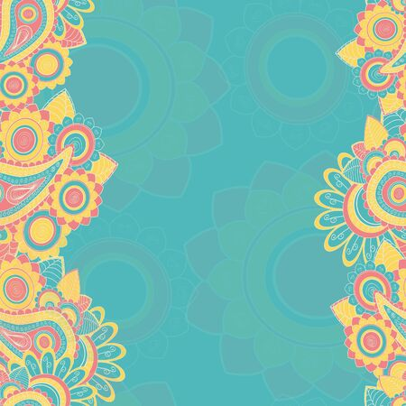 Seamless paisley pattern border. Hand drawn illustration Stock Vector - 17502316