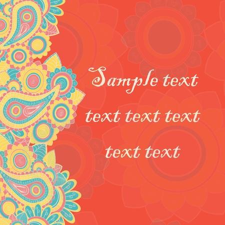 Seamless paisley pattern border. Hand drawn illustration Stock Vector - 17502318