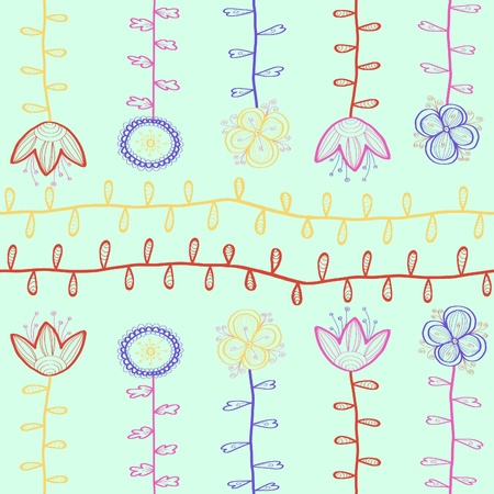 Seamless floral pattern. Hand drawn background Vector