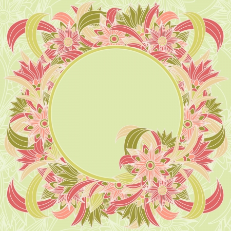 Multicolor floral background with framed text box. illustration  Vector