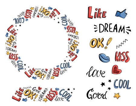 Vector wreath of hand drawn lettering