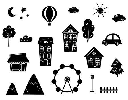Stickers, templates silhouettes for creativity