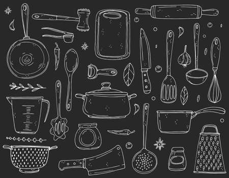 Big set elements with hand drawn kitchenware on a chalkboard background. Vector icons in black and white sketch style. Hand drawn isolated objects