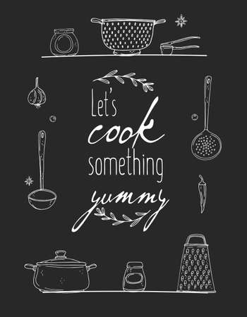 Kitchen poster with hand drawn kitchenware, spice and lettering on a chalkboard