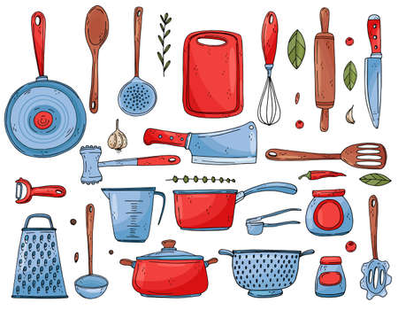 Big set elements with hand drawn kitchenware isolate on a white background. Vector icons in sketch style. Hand drawn objects Illustration