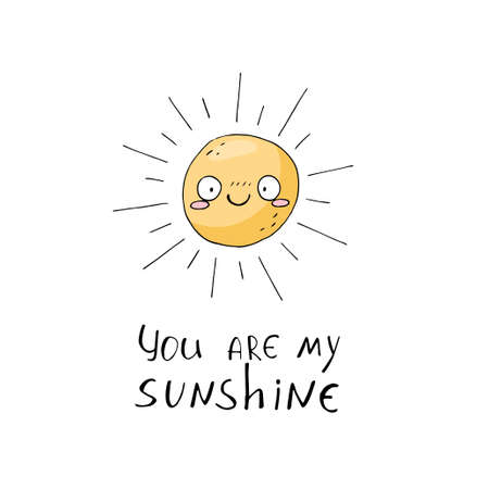Cute poster with sun on white background. Character and emotion in cartoon style. Hand draw elements in sketch style Illustration