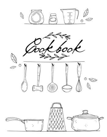 okładka książki kucharskiej z ręcznie rysowane przybory kuchenne, przyprawy i napis na białym tle. Vector czarne ikony w stylu szkicu. Ręcznie rysowane obiekty