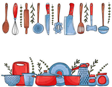 Background ot elements with hand drawn kitchenware isolate on a white background. Vector icons in sketch style. Hand drawn objects Ilustracja
