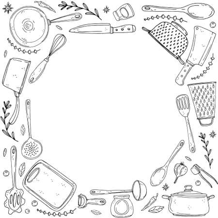 inversion circle made of elements with hand drawn kitchenware on isolate on a white background. Vector black icons in sketch style. Hand drawn objects Ilustração