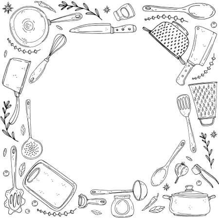 koło inwersji wykonane z elementów z ręcznie rysowane naczynia kuchenne na izolat na białym tle. Vector czarne ikony w stylu szkicu. Ręcznie rysowane obiekty Ilustracje wektorowe