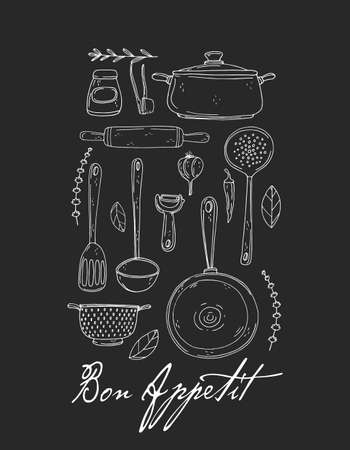 Kitchen poster with hand drawn kitchenware, spice and lettering on a chalkboard. Bon appetit! Vector poster in black and white sketch style. Ilustracja