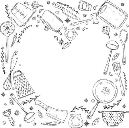 inversion heart made elements with hand drawn kitchenware on isolate on a white background. Vector black icons in sketch style. Hand drawn objects