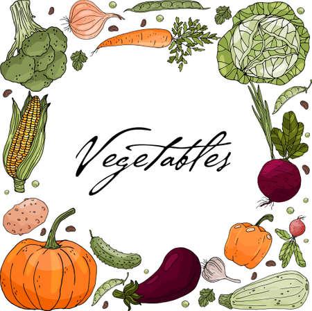 Plakat z odwróconym kołem wykonanym z ręcznie rysowanych warzyw na białym tle.