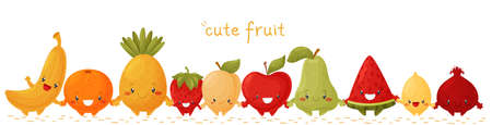 Border of cute fruits